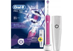 Oral-B Pro 750 3D White Pink Colour & Bonus Travel Case