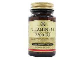 SOLGAR Vitamin D3 (cholecalciferol) 2200 Iu Vegetable Capsules 50s