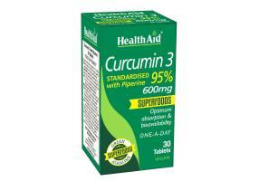 Health Aid Curcumin 3 Κουρκουμίνη με Πιπερίνη 30tabs, 600mg