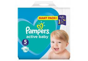 Pampers Active Baby-Dry Diapers Size 5 (Junior) 11-18 kg 78 Diapers