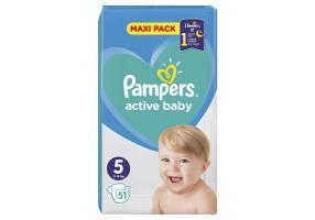 Pampers Active Baby Πάνες Μέγεθος 5 (11-16 kg), Maxi Pack, 51 Πάνες
