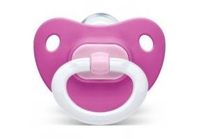 NUK Classic Fashion Silicone Soother 18-36m Fuchsia with White Hook